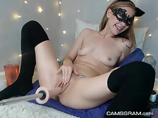 Hot Amateur Camgirl Is Getting Fucked By A Machine