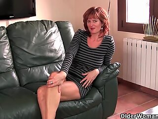 Redheaded mom plays with her nipples and pussy (compilation)