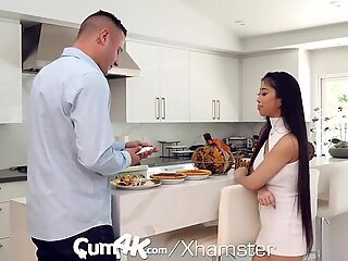 CUM4K Multiple Creampies Inside Asian Pussy On Thanksgiving