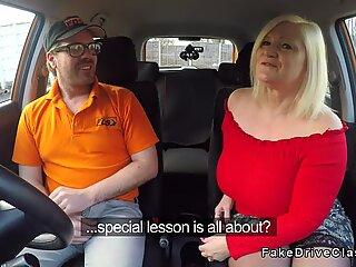 Fat mature fucks in driving school car