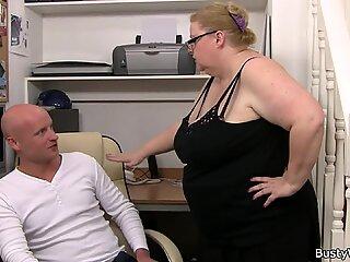 Huge boobs woman works hard on his cock