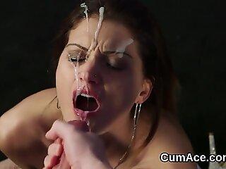 Wacky peach gets jizz load on her face sucking all the jism