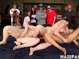 Lesbians lick and rub each other in front of frat dudes