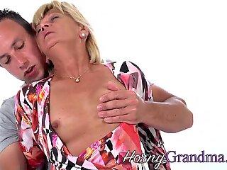 Dick sucking old blonde grandma