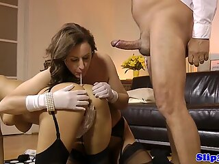 Gorgeous babe and milf drilled by old man