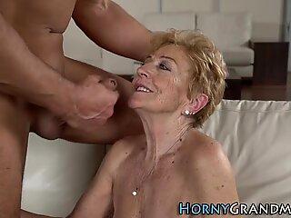 Granny gets face jizzed