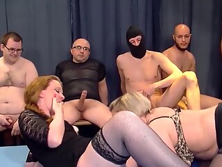Two mature mothers gangbanged by amateur boys