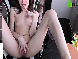 Alice shows pussy close to camera