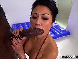 Sexy asian Jackie Lin gives a hot fuck massage