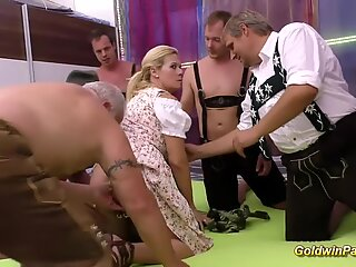 stepmom gets fisted at the gangbang orgy