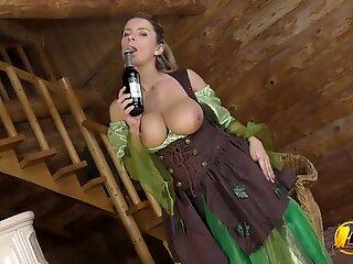 Big boobs MILF in St Patricks Day ride on Green Bottle