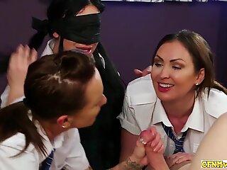 Dick sucking schoolgirls get nasty in group