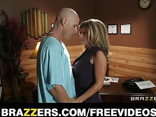 Big-tit brunette doctor uses her patient for threesome