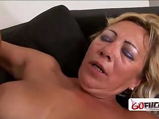 Naughty granny with big tits gets her coochie drilled
