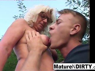 ash-blonde grandma gets some jizm on her glasses