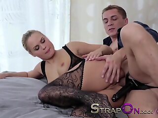 StrapOn Double pentration for sexy blonde and cumshot for finish
