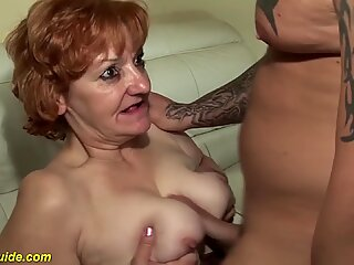 rough toothless blowbang with 74 years old mom