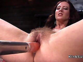 Natural busty hairy Milf fucks machine