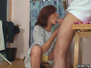 He plows sewing 70 years senior grandma