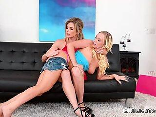 Blonde lesbian teen rimming busty mom