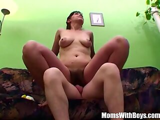 Hairy Pussy Mature Cleans Young Cock Dry