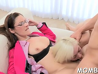 Divine threesome with a hot mature