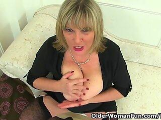British milf Alisha Rydes loves wearing black stockings and dildoing