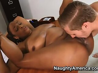 Fat black bitch Carmen Hayes is hammered in classroom