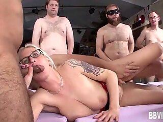 Busty german milf gets fucked in gangbang