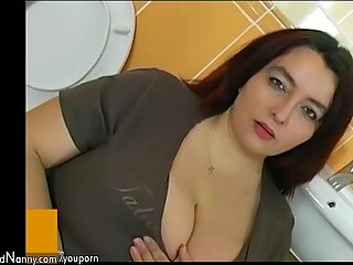 Fat bbw woman in bathroom have sex with young man