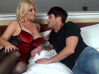 humungous boobies mom has a bday present for son - watch more on noshygirls.com