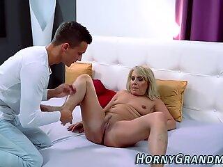 Cum dumped old lady fuck