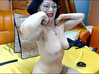 jaw-dropping Russian grannie with the assets of a 40 year-old flexes her muscles