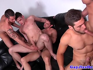 Gay jock orgy with five cockhungry dudes