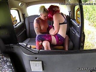 Blonde female taxi driver lesbian