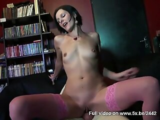 Hot Milf Sophie takes anal in pink stockings