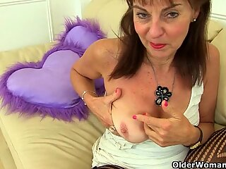English gilf Josie covers her hairy fanny with sheer tights