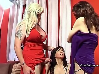 A thin lady in her late 40's blows and wanks 2 mature crossdressers