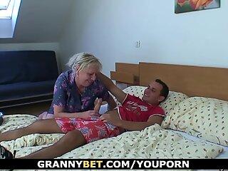 Young dude doggy-fucks horny old blonde grandma