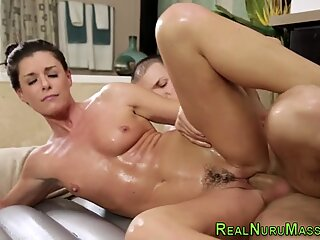 Mature masseuse spunked