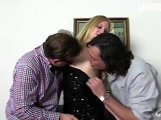 AMATEUR EURO - Naughty Blondie Gets Banged In Threeway