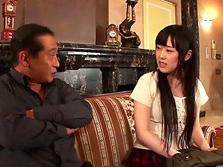 Naughty Machiko Ono in maid uniform masturbating
