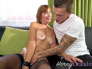 Stockings gilf takes cum