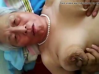 gray-haired chinese grandmother