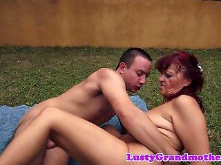 Busty grandma pussyfucked in the backyard