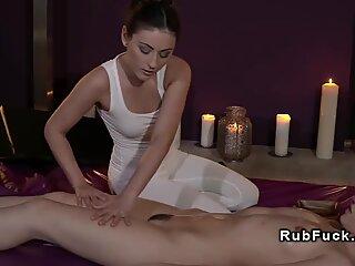 Masseuse stretching hairy lesbian brunette