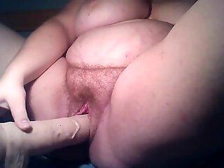 Swedish amateur bbw plays with dildo