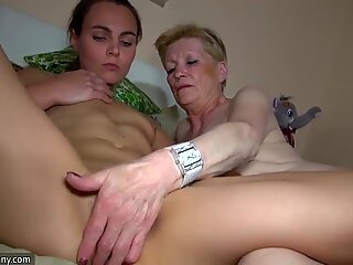 Nice young woman and old granny masturbated