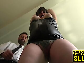 Chubby mature lady Elouise Lust deepthroat and rough sex